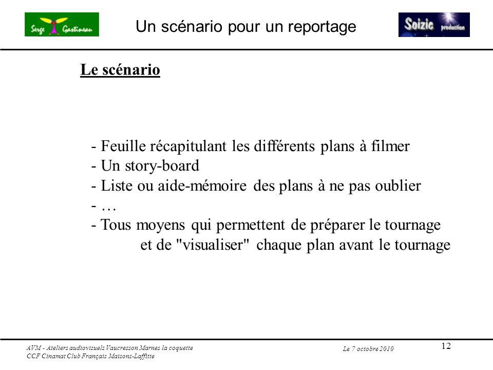 12 Le 7 octobre 2010 - Feuille récapitulant les différents plans à filmer - Un story-board - Liste ou aide-mémoire des plans à ne pas oublier - … - To