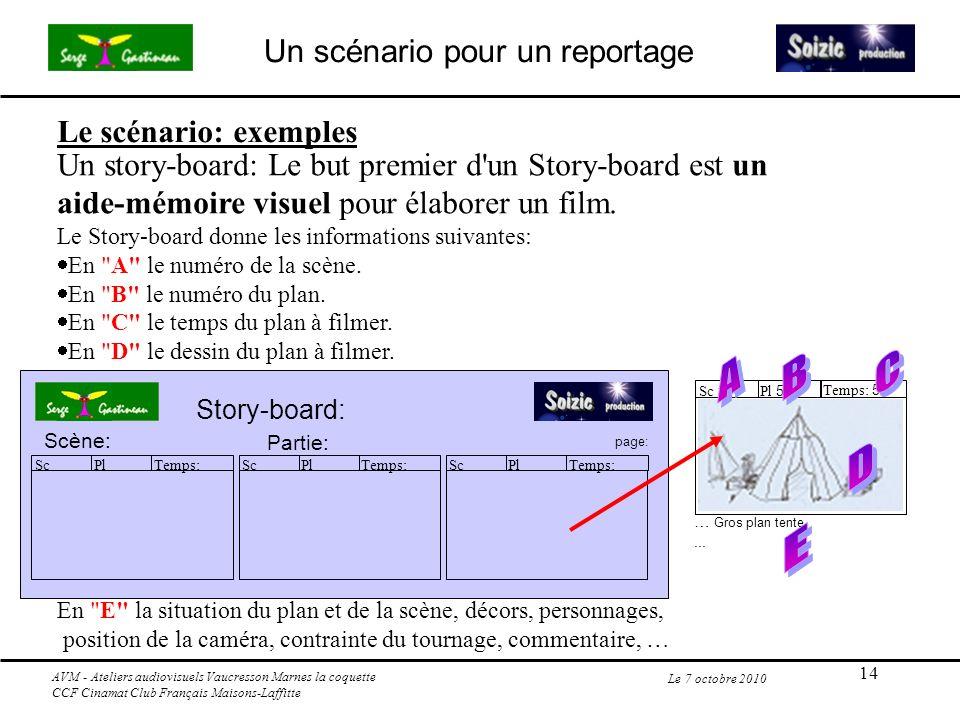 14 Le 7 octobre 2010 Un story-board: Le but premier d'un Story-board est un aide-mémoire visuel pour élaborer un film. Le Story-board donne les inform