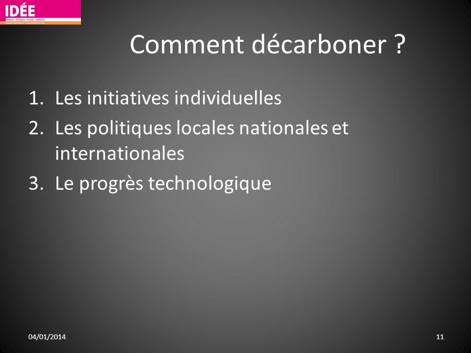 Comment décarboner ? 1.Les initiatives individuelles 2.Les politiques locales nationales et internationales 3.Le progrès technologique 04/01/2014 11