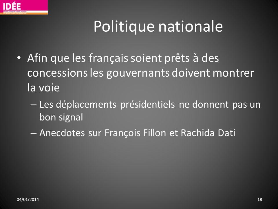 Politique nationale Afin que les français soient prêts à des concessions les gouvernants doivent montrer la voie – Les déplacements présidentiels ne d