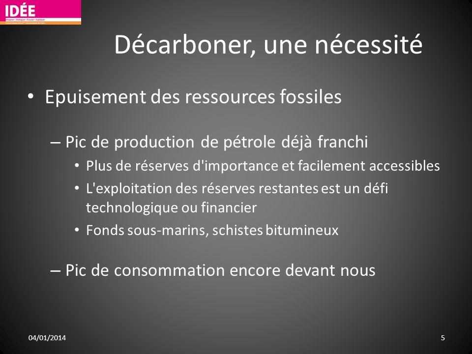 Décarboner, une nécessité Epuisement des ressources fossiles – Pic de production de pétrole déjà franchi Plus de réserves d'importance et facilement a