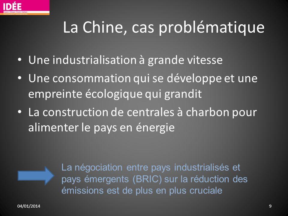 La Chine, cas problématique Une industrialisation à grande vitesse Une consommation qui se développe et une empreinte écologique qui grandit La constr