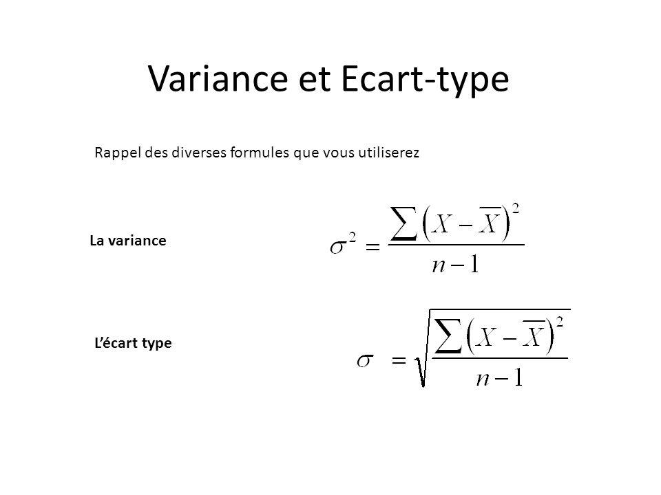 Rappel des diverses formules que vous utiliserez La variance Lécart type Variance et Ecart-type