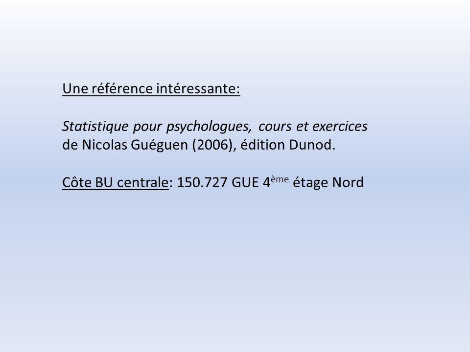 Une référence intéressante: Statistique pour psychologues, cours et exercices de Nicolas Guéguen (2006), édition Dunod. Côte BU centrale: 150.727 GUE