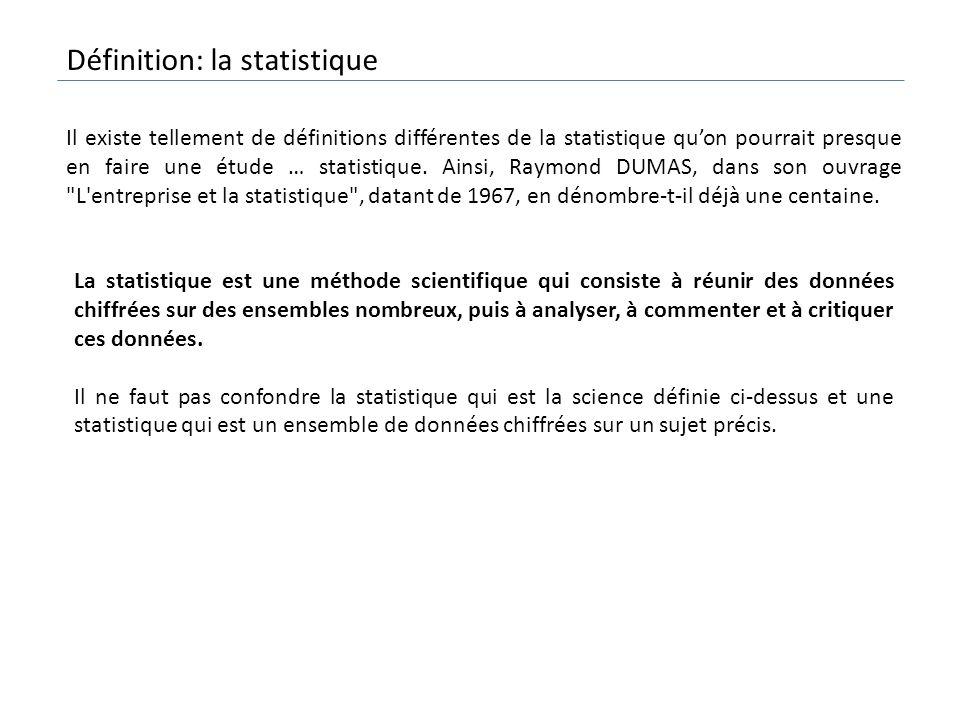 La statistique est une méthode scientifique qui consiste à réunir des données chiffrées sur des ensembles nombreux, puis à analyser, à commenter et à