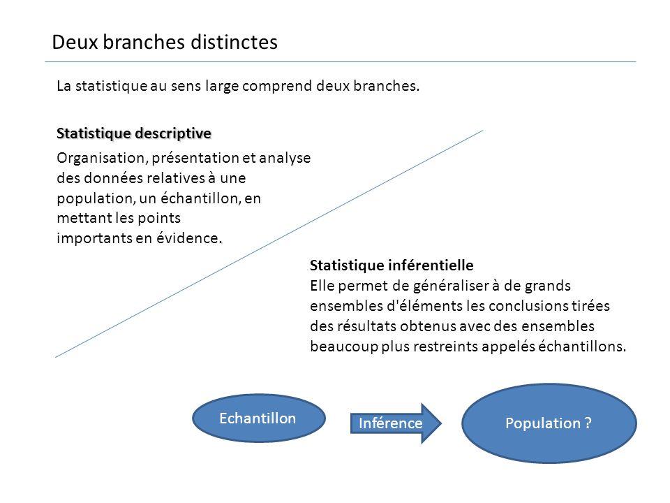 Statistique descriptive. Organisation, présentation et analyse des données relatives à une population, un échantillon, en mettant les points important