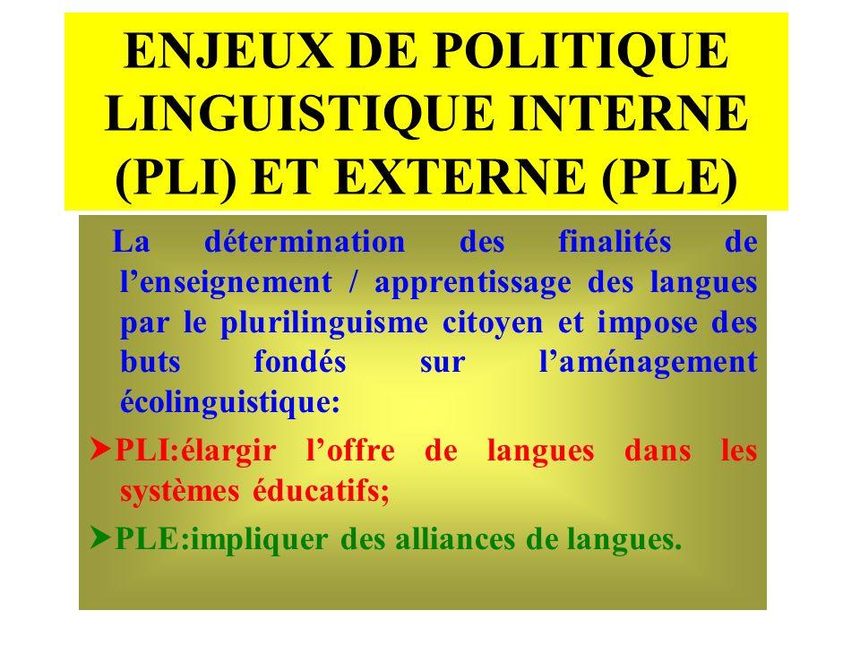 ENJEUX DE POLITIQUE LINGUISTIQUE INTERNE (PLI) ET EXTERNE (PLE) La détermination des finalités de lenseignement / apprentissage des langues par le plu