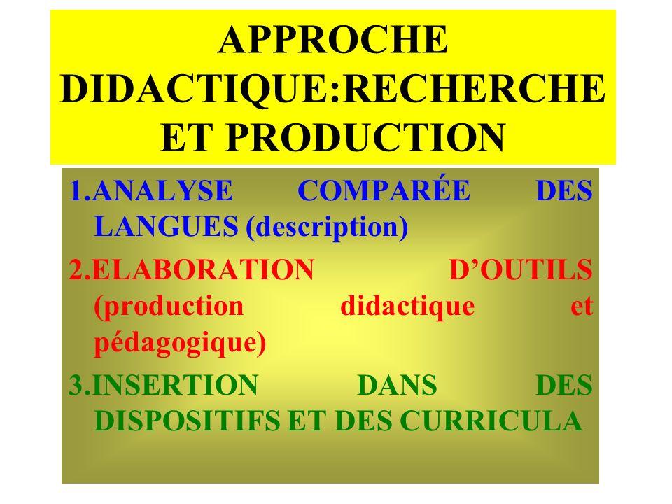 APPROCHE DIDACTIQUE:RECHERCHE ET PRODUCTION 1.ANALYSE COMPARÉE DES LANGUES (description) 2.ELABORATION DOUTILS (production didactique et pédagogique)