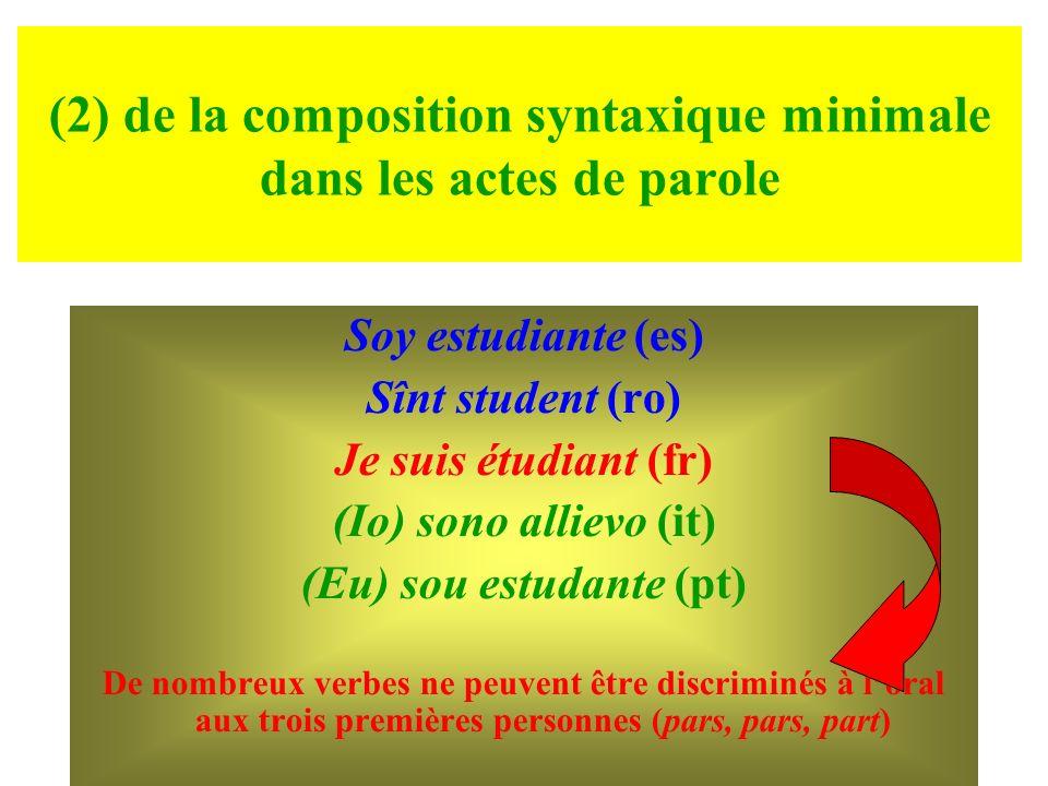 (2) de la composition syntaxique minimale dans les actes de parole Soy estudiante (es) Sînt student (ro) Je suis étudiant (fr) (Io) sono allievo (it)