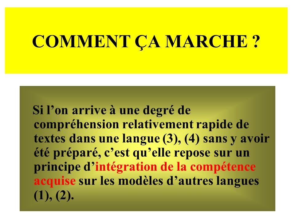 COMMENT ÇA MARCHE ? Si lon arrive à une degré de compréhension relativement rapide de textes dans une langue (3), (4) sans y avoir été préparé, cest q