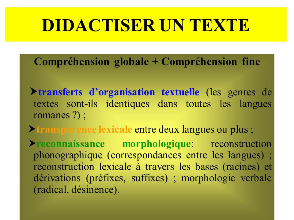 DIDACTISER UN TEXTE Compréhension globale + Compréhension fine transferts dorganisation textuelle (les genres de textes sont-ils identiques dans toute