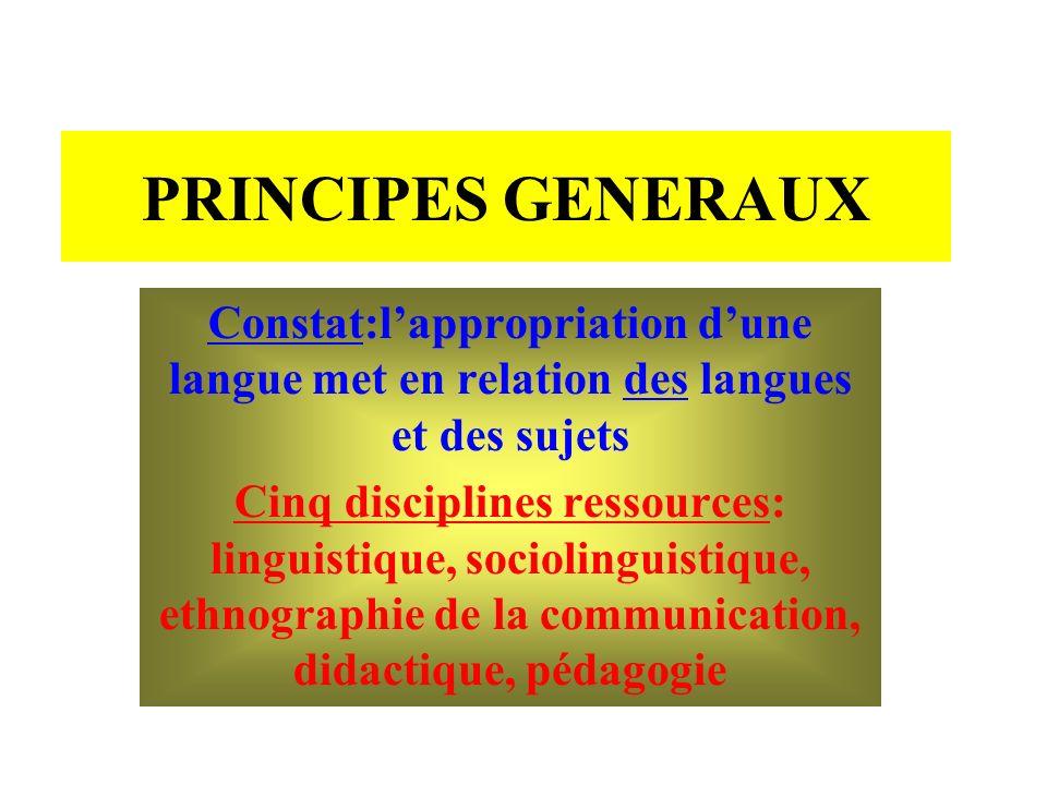 PRINCIPES GENERAUX Constat:lappropriation dune langue met en relation des langues et des sujets Cinq disciplines ressources: linguistique, sociolingui