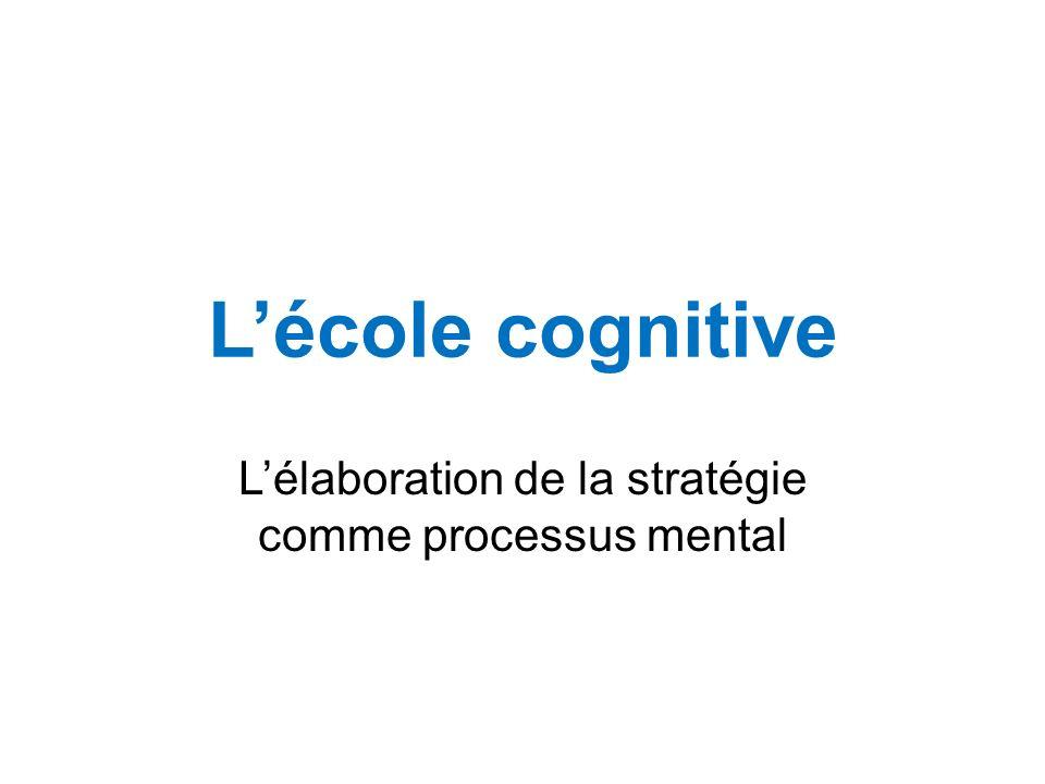 Lécole cognitive Lélaboration de la stratégie comme processus mental