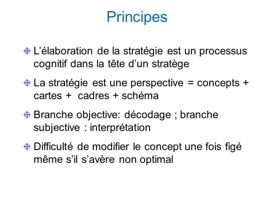 Principes Lélaboration de la stratégie est un processus cognitif dans la tête dun stratège La stratégie est une perspective = concepts + cartes + cadres + schéma Branche objective: décodage ; branche subjective : interprétation Difficulté de modifier le concept une fois figé même sil savère non optimal