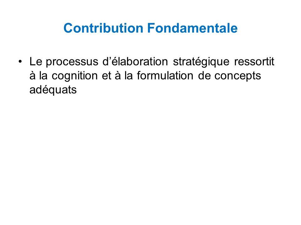 Contribution Fondamentale Le processus délaboration stratégique ressortit à la cognition et à la formulation de concepts adéquats