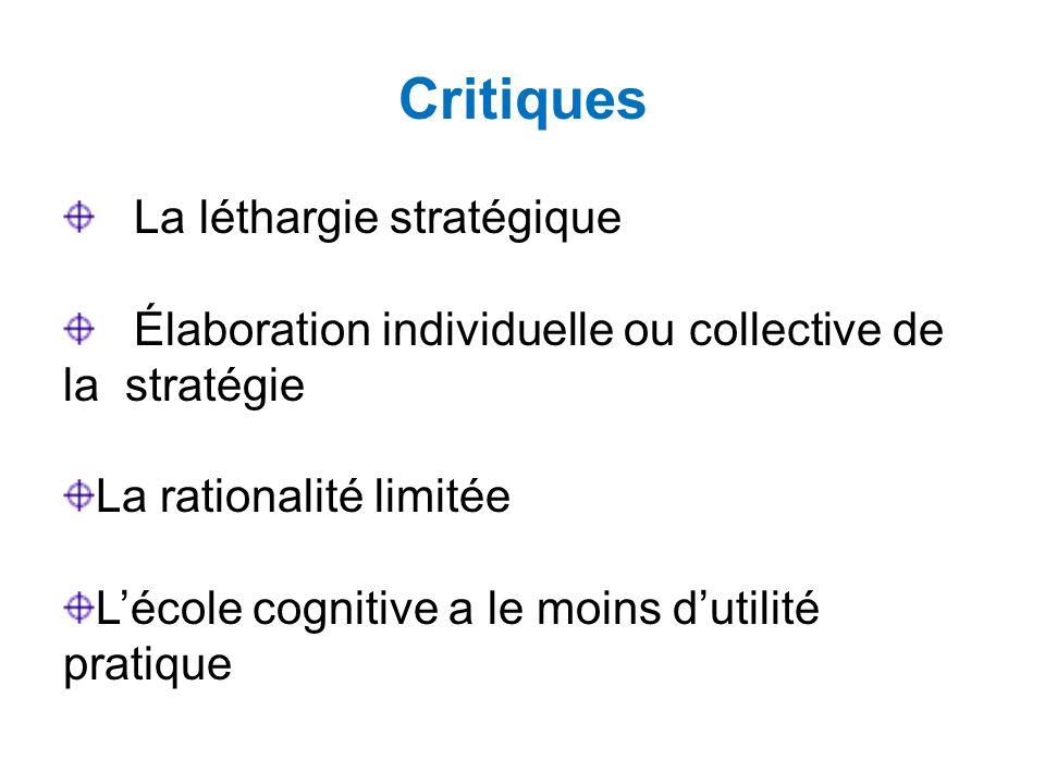 Critiques La léthargie stratégique Élaboration individuelle ou collective de la stratégie La rationalité limitée Lécole cognitive a le moins dutilité pratique