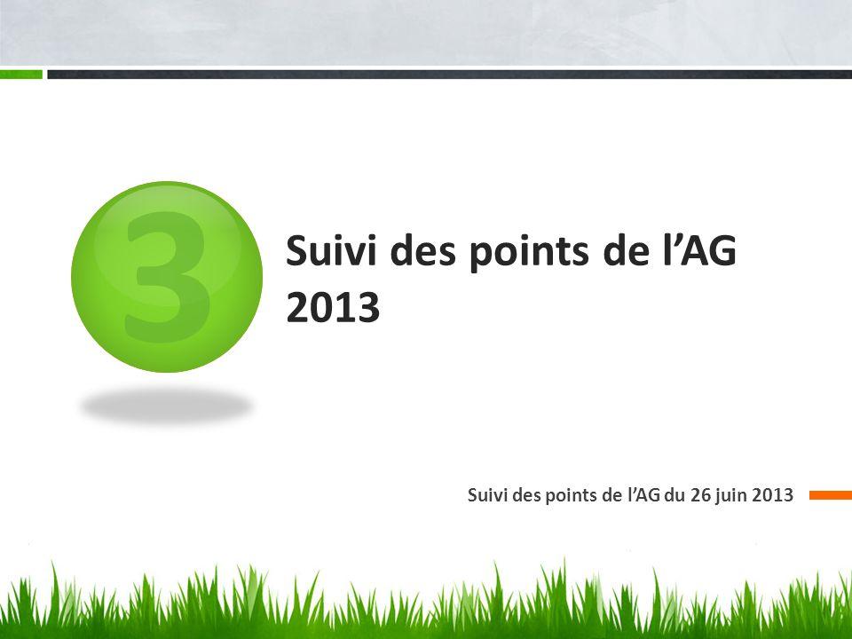 3 Suivi des points de lAG 2013 Suivi des points de lAG du 26 juin 2013