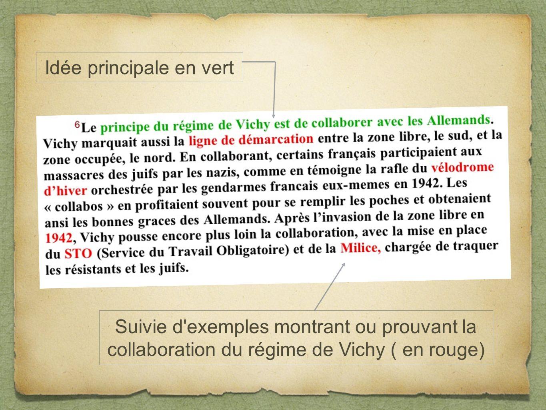 Idée principale en vert Suivie d'exemples montrant ou prouvant la collaboration du régime de Vichy ( en rouge)