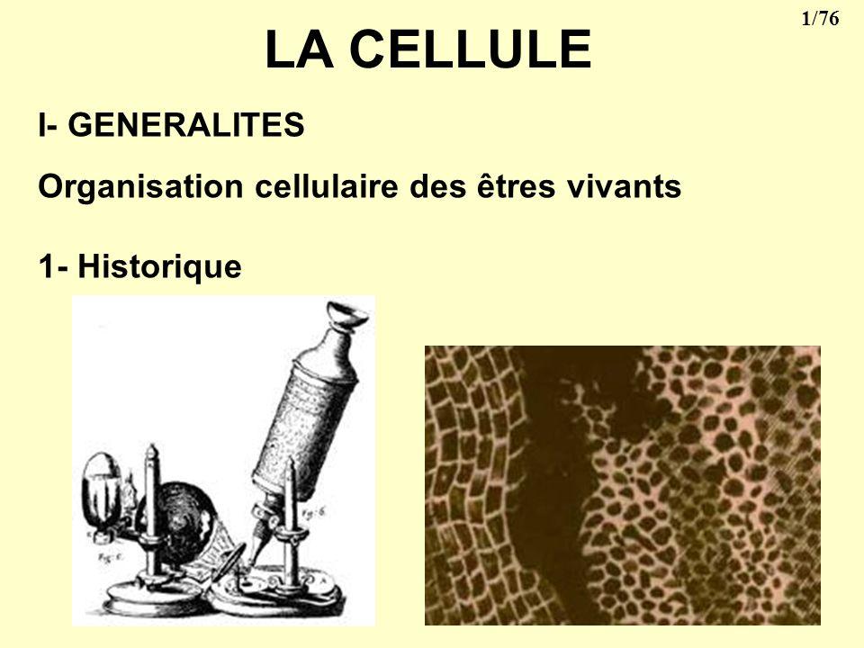 1/76 LA CELLULE I- GENERALITES Organisation cellulaire des êtres vivants 1- Historique