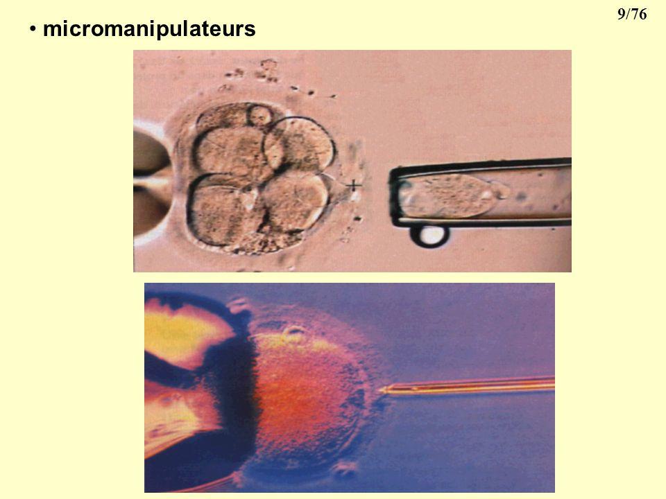 8/76 II- MORPHOLOGIE CELLULAIRE 1- Moyens détude: microscope optique microscope électronique Cellules: vivantes fixées