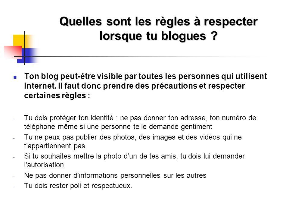 Quelles sont les règles à respecter lorsque tu blogues ? Ton blog peut-être visible par toutes les personnes qui utilisent Internet. Il faut donc pren