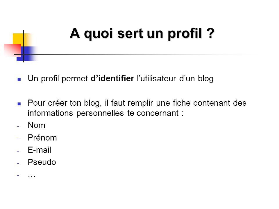 A quoi sert un profil ? Un profil permet didentifier lutilisateur dun blog Pour créer ton blog, il faut remplir une fiche contenant des informations p