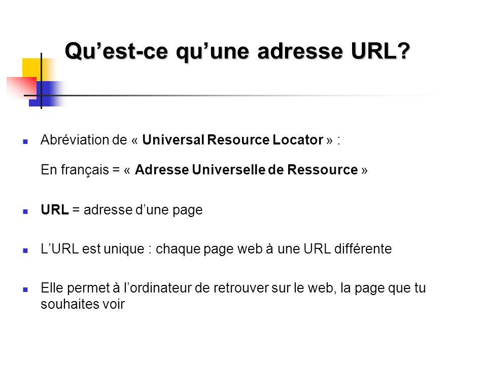 Quest-ce quune adresse URL? Abréviation de « Universal Resource Locator » : En français = « Adresse Universelle de Ressource » URL = adresse dune page