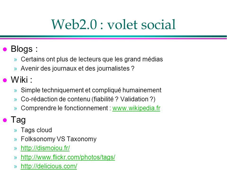 Web2.0 : volet social l Blogs : »Certains ont plus de lecteurs que les grand médias »Avenir des journaux et des journalistes ? l Wiki : »Simple techni
