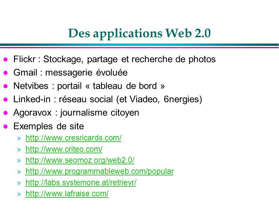 Des applications Web 2.0 l Flickr : Stockage, partage et recherche de photos l Gmail : messagerie évoluée l Netvibes : portail « tableau de bord » l L