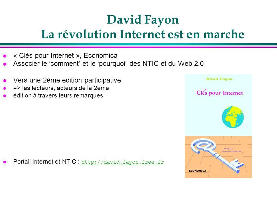 David Fayon La révolution Internet est en marche l « Clés pour Internet », Economica l Associer le comment et le pourquoi des NTIC et du Web 2.0 l Ver