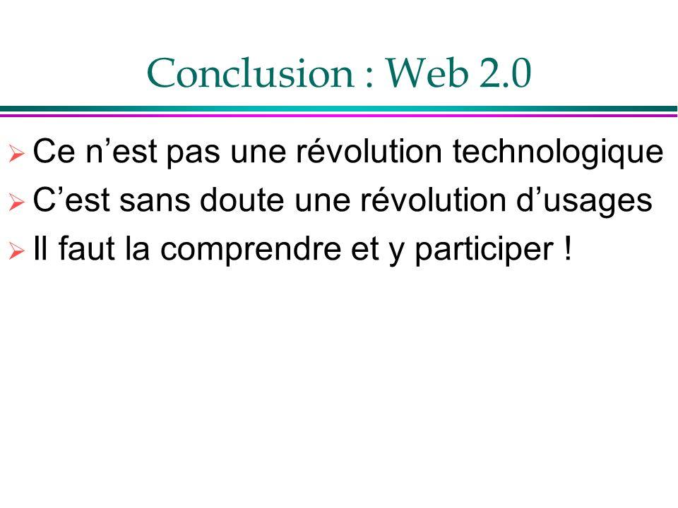 Conclusion : Web 2.0 Ce nest pas une révolution technologique Cest sans doute une révolution dusages Il faut la comprendre et y participer !