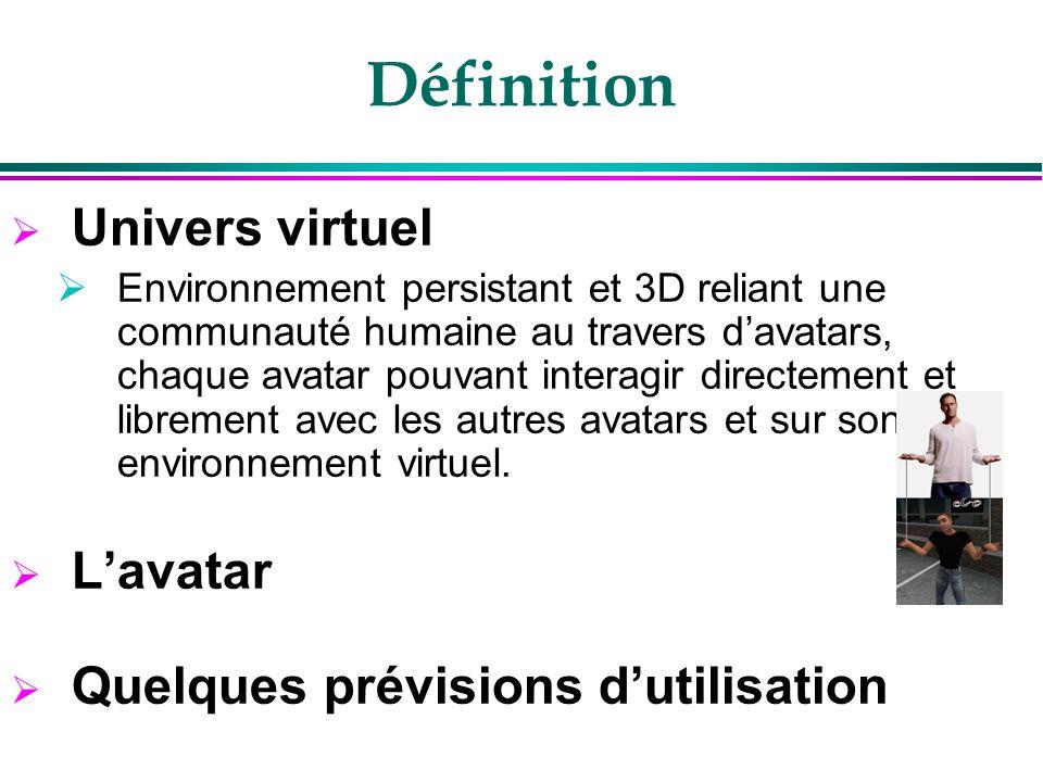 Définition Univers virtuel Environnement persistant et 3D reliant une communauté humaine au travers davatars, chaque avatar pouvant interagir directem