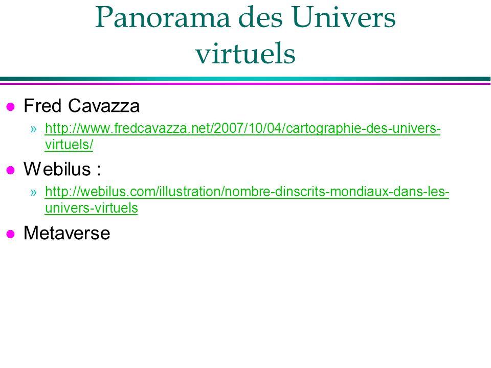 Panorama des Univers virtuels l Fred Cavazza »http://www.fredcavazza.net/2007/10/04/cartographie-des-univers- virtuels/http://www.fredcavazza.net/2007