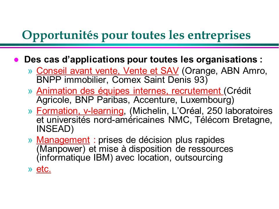 Opportunités pour toutes les entreprises l Des cas dapplications pour toutes les organisations : »Conseil avant vente, Vente et SAV (Orange, ABN Amro,