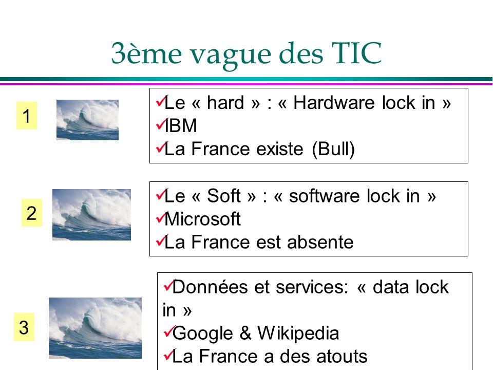 3ème vague des TIC poste de travail = Navigateur sur PC ou PDA Mail Agenda Gestion document Informations en live Appli comptable CRM Ressources de services : Prestataires de contenus Intégrateurs Prestataires de services internes ou externes