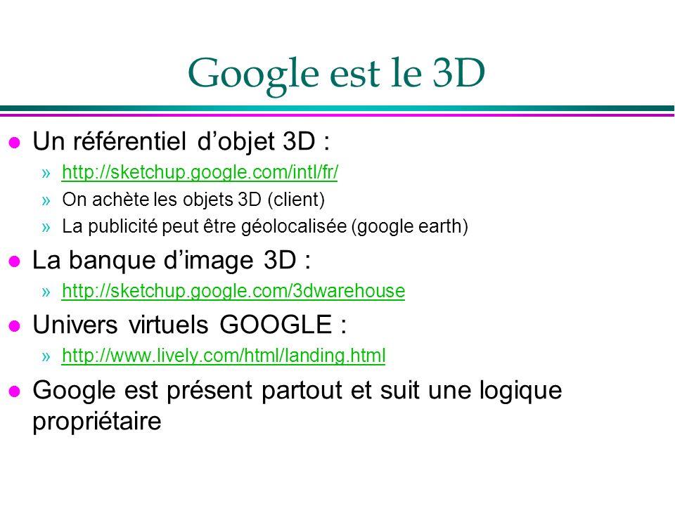 Google est le 3D l Un référentiel dobjet 3D : »http://sketchup.google.com/intl/fr/http://sketchup.google.com/intl/fr/ »On achète les objets 3D (client