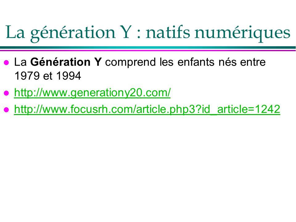 La génération Y : natifs numériques l La Génération Y comprend les enfants nés entre 1979 et 1994 l http://www.generationy20.com/ http://www.generatio