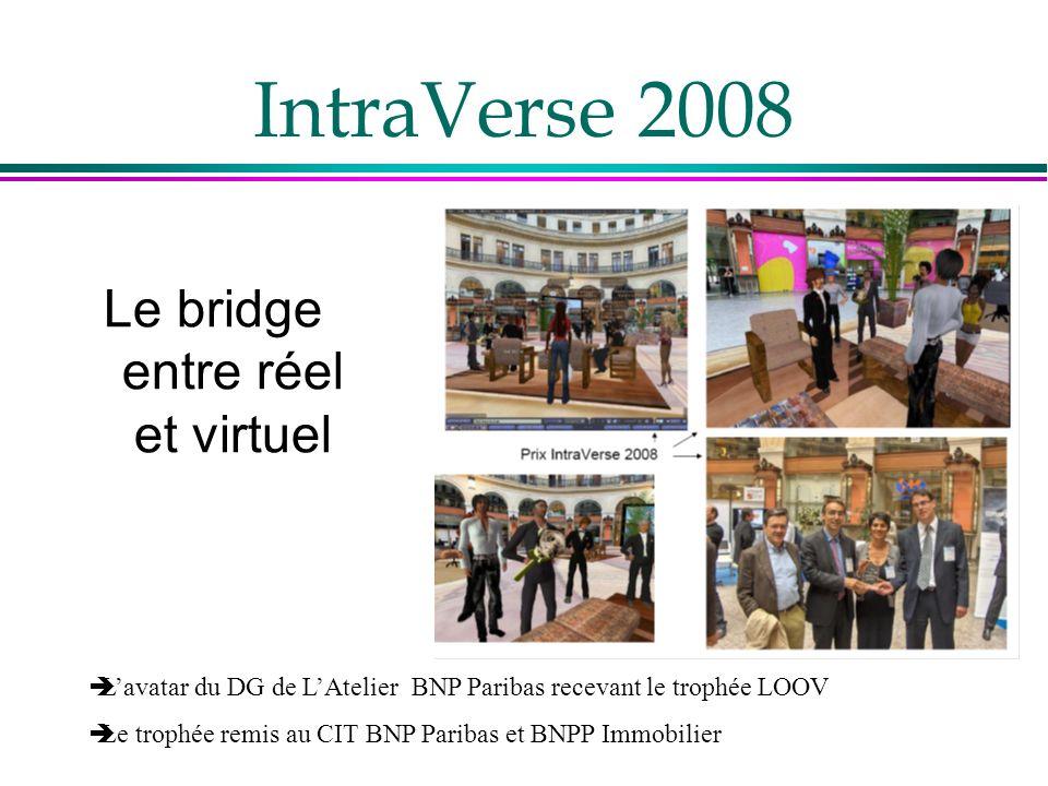 IntraVerse 2008 Le bridge entre réel et virtuel Lavatar du DG de LAtelier BNP Paribas recevant le trophée LOOV Le trophée remis au CIT BNP Paribas et