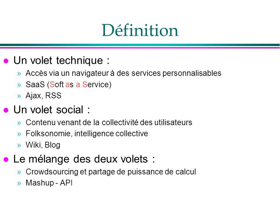 Définition l Un volet technique : »Accès via un navigateur à des services personnalisables »SaaS (Soft as a Service) »Ajax, RSS l Un volet social : »C