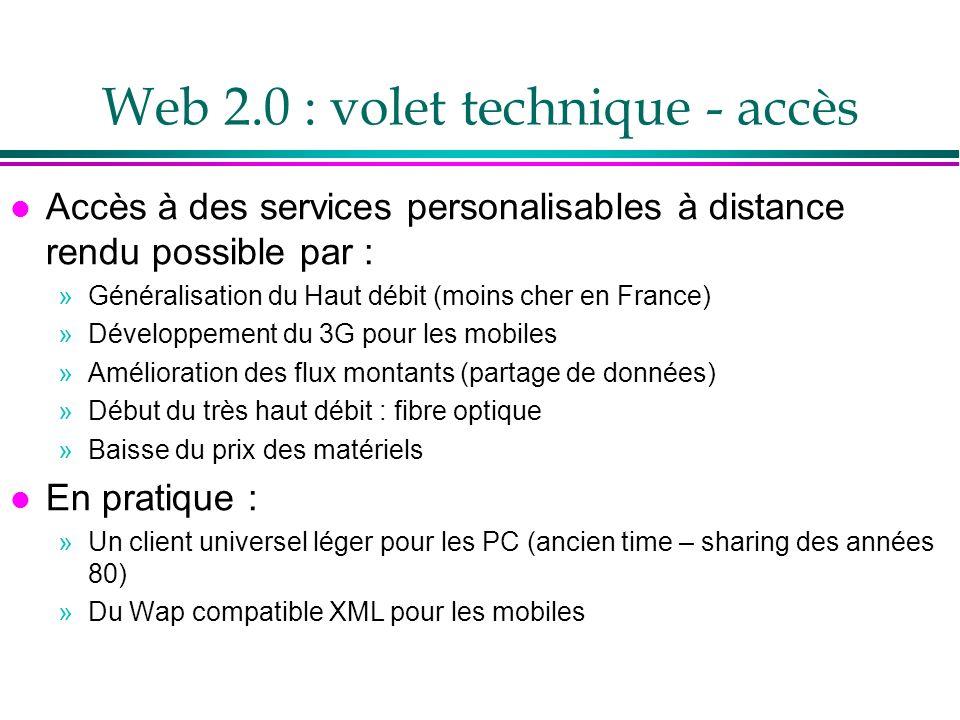 Web 2.0 : volet technique - AJAX l AJAX (Asynchronous Javascript and XML) pilier du Web2.0 l Combinaison de technologies Web existantes : »HTML or XHTML, Cascading Style Sheets (CSS), JavaScript, Document Object Model (DOM), XML, XSLT, et les objets XMLHttpRequest l Ajax est défini par le centre de développement Mozilla »http://developer.mozilla.org/en/docs/AJAX l Exécuter des applications à lintérieur du navigateur, sur le poste client, en actualisant la page par morceaux l Exemples .
