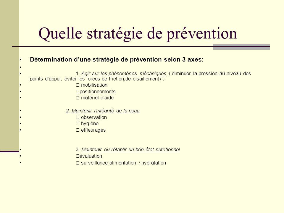 Quelle stratégie de prévention Détermination dune stratégie de prévention selon 3 axes: 1. Agir sur les phénomènes mécaniques ( diminuer la pression a