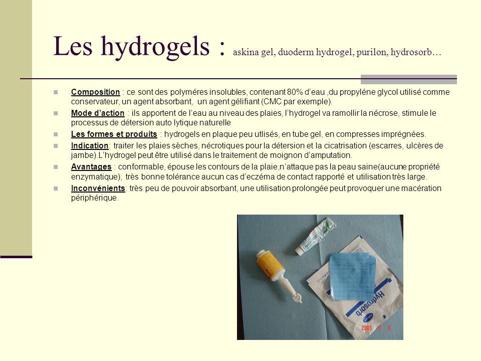 Les hydrogels : askina gel, duoderm hydrogel, purilon, hydrosorb… Composition : ce sont des polyméres insolubles, contenant 80% deau,du propyléne glyc