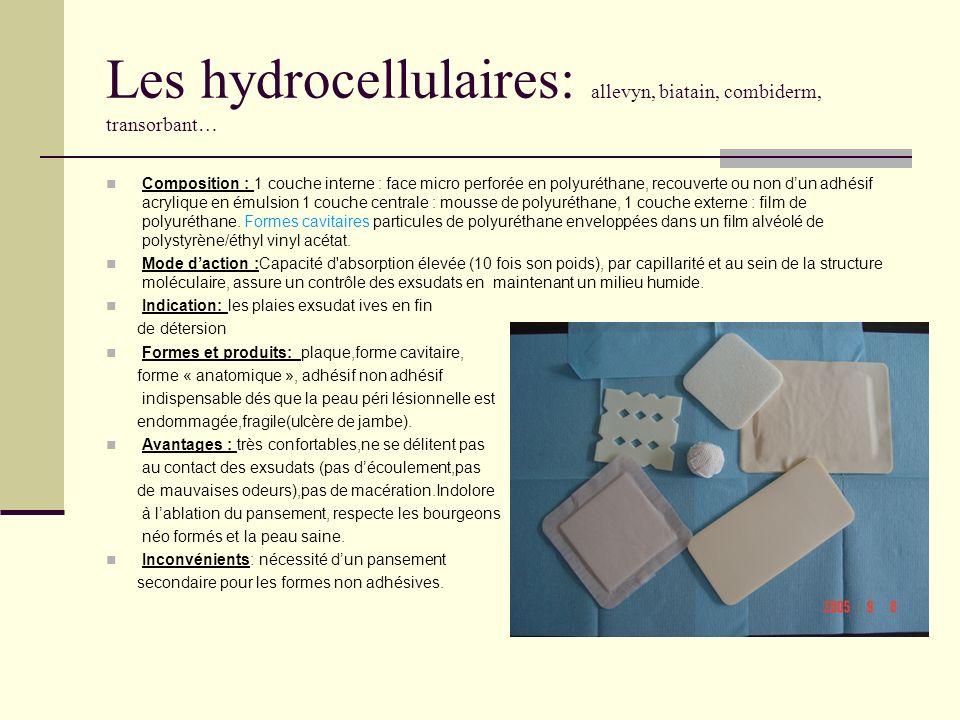 Les hydrocellulaires: allevyn, biatain, combiderm, transorbant… Composition : 1 couche interne : face micro perforée en polyuréthane, recouverte ou no