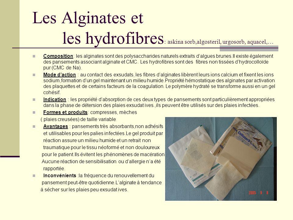 Les Alginates et les hydrofibres : askina sorb,algosteril, urgosorb, aquacel,… Composition: les alginates sont des polysaccharides naturels extraits d