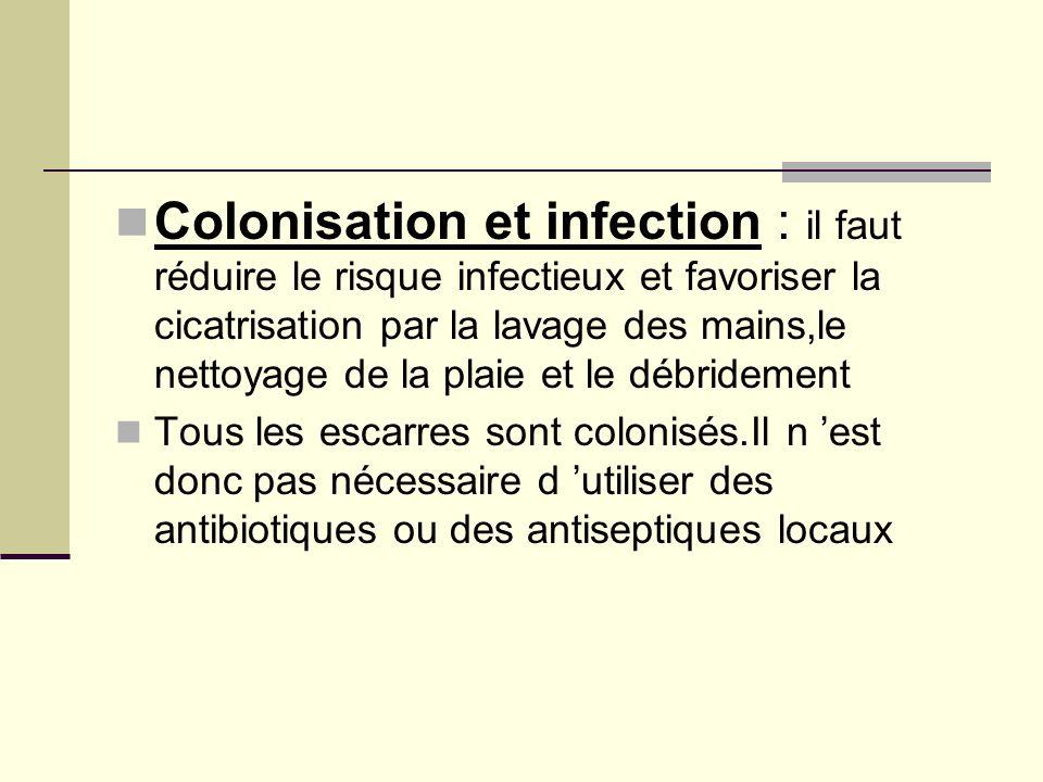 Colonisation et infection : il faut réduire le risque infectieux et favoriser la cicatrisation par la lavage des mains,le nettoyage de la plaie et le