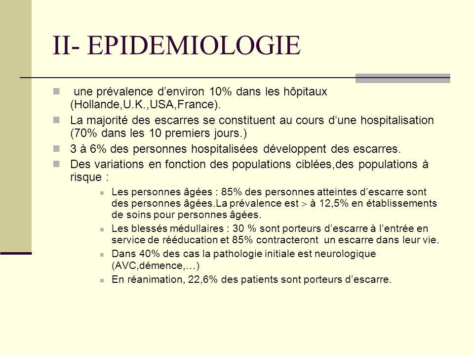 II - EPIDEMIOLOGIE - De grandes variations des taux de prévalence selon les études : en CS entre 5 et 23%,en USLD taux le plus souvent inférieur à 10%, en SSR prévalence plus élevée qu en CS et USLD, en EHPAD prévalence variant entre 2 et 23%,à domicile une étude réalisée par PERSE rapporte une prévalence de 4% - l incidence des escarres chez les patients âgées varie entre 1,2 et 15%avec une moyenne entre 4-5% ( chiffre plus élevé en orthopédie autour de 40%) Enquête Sentinel (12ème conférence Plaies et cicatrisation)La population détude était âgée en moyenne de 80,5 ± 10,5 ans et comptait 64 % de femmes ; 58 % des patients étaient suivis à domicile, 25 % avaient une démence et 21 % une séquelle daccident vasculaire cérébral.
