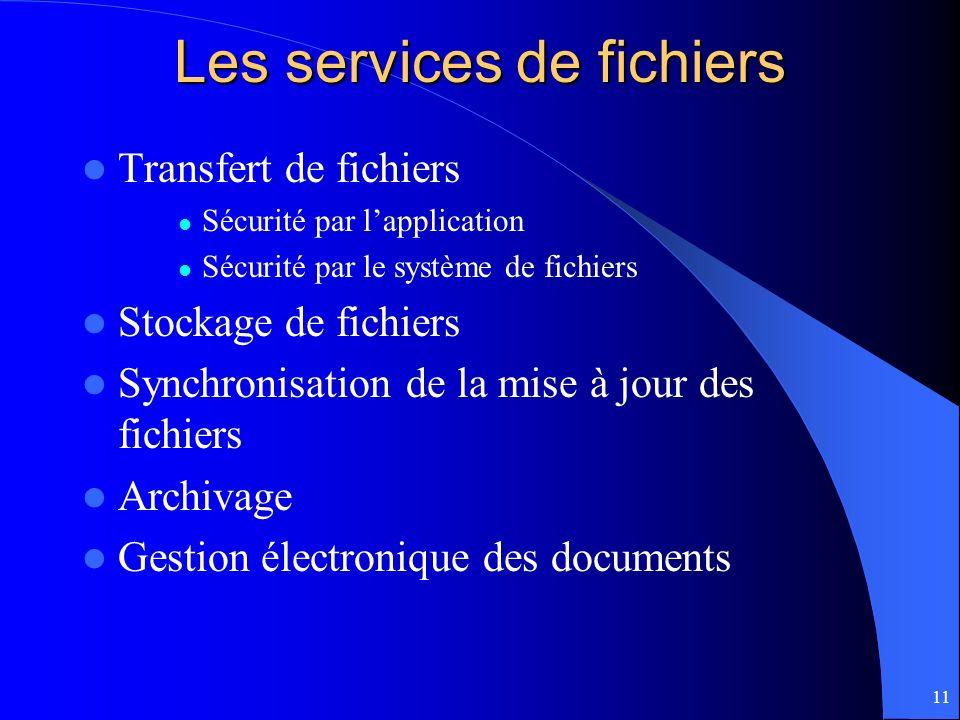 11 Les services de fichiers Transfert de fichiers Sécurité par lapplication Sécurité par le système de fichiers Stockage de fichiers Synchronisation d