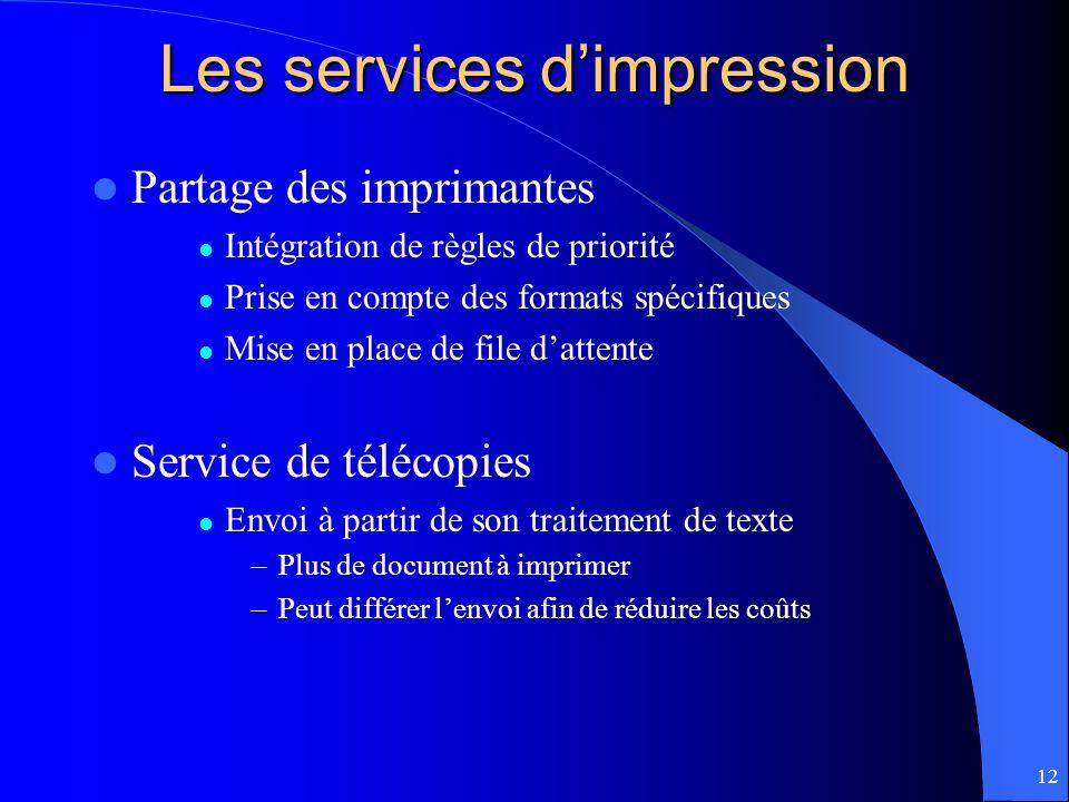 12 Les services dimpression Partage des imprimantes Intégration de règles de priorité Prise en compte des formats spécifiques Mise en place de file da