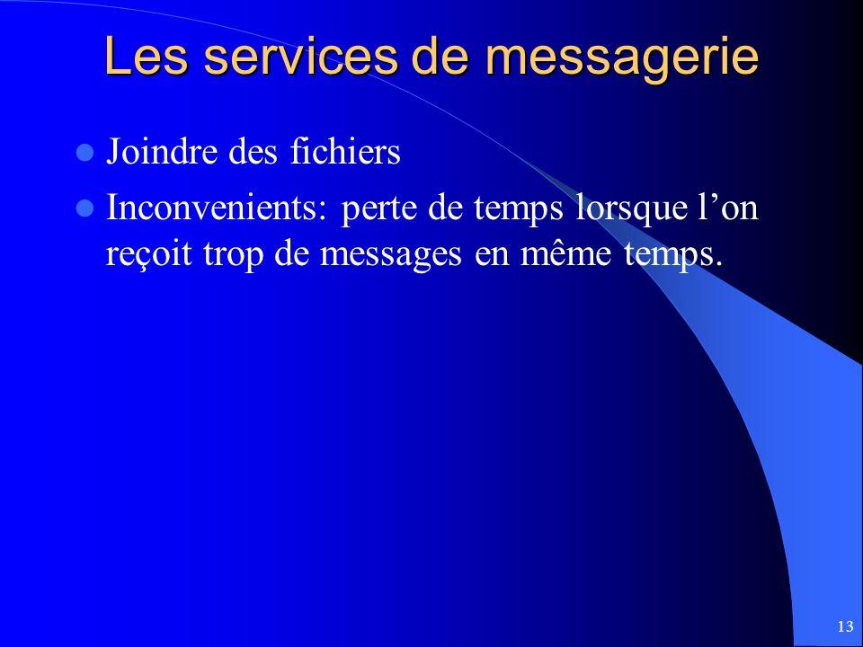 13 Les services de messagerie Joindre des fichiers Inconvenients: perte de temps lorsque lon reçoit trop de messages en même temps.