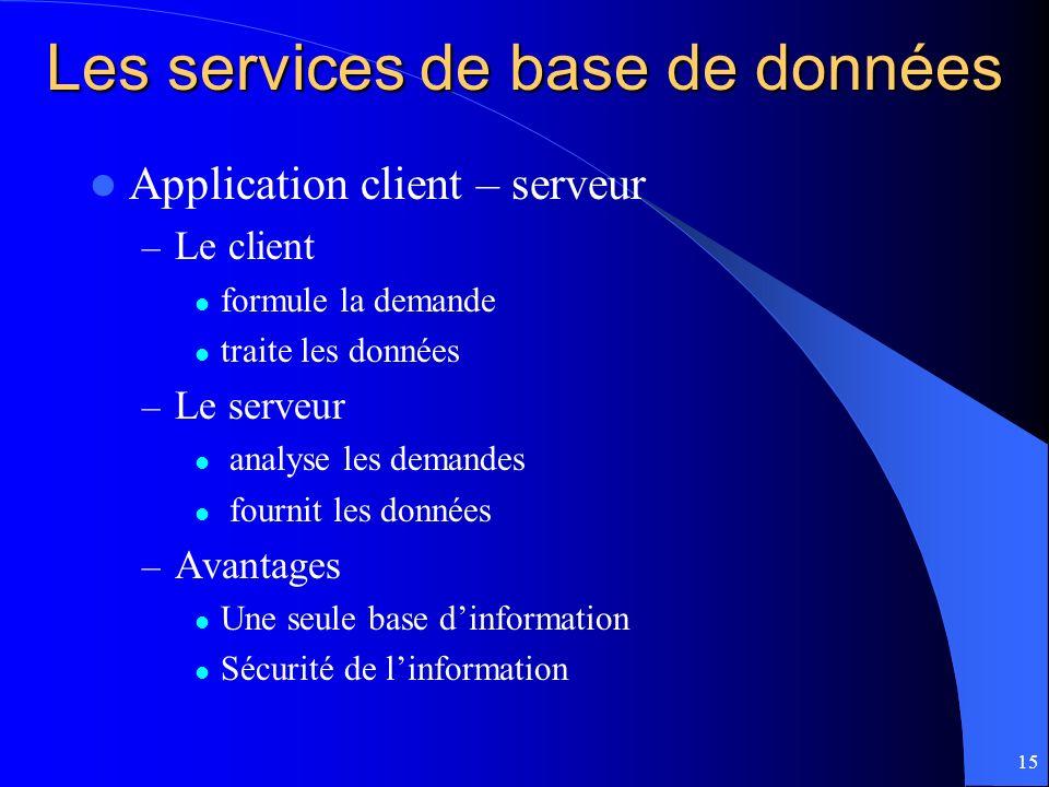 15 Les services de base de données Application client – serveur – Le client formule la demande traite les données – Le serveur analyse les demandes fo